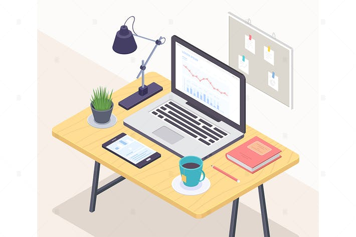 Thumbnail for Office workplace - vector isometric illustration
