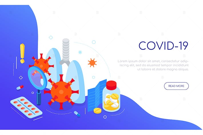 Thumbnail for Covid-19 virus and medicine - isometric web banner