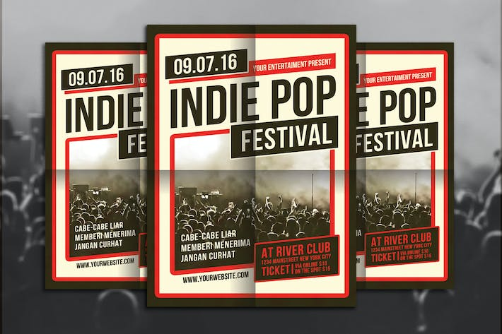 Thumbnail for Indie Pop Festival Flyer Template