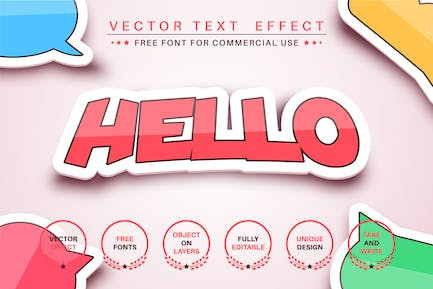 Sticker - editable text effect, font style