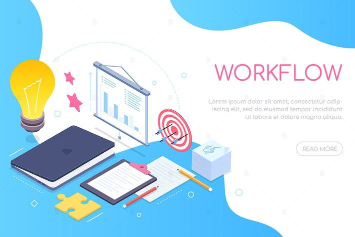 Thumbnail for Workflow concept - colorful isometric web banner