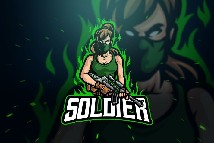 Cover Image For Female Soldier Sport and Esport Logo