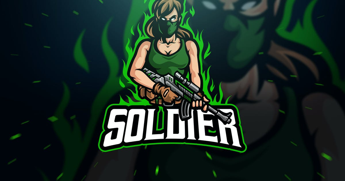 Download Female Soldier Sport and Esport Logo by Blankids