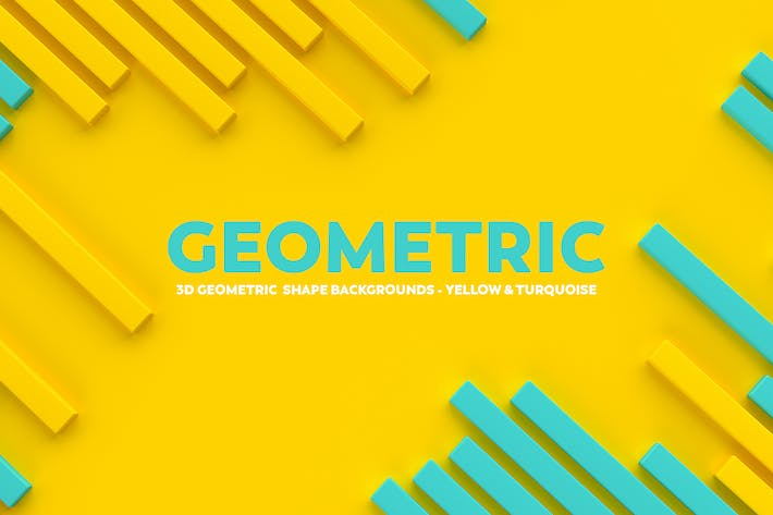 Thumbnail for 3D geometric Shape Backgrounds -Yellow & Turquoise