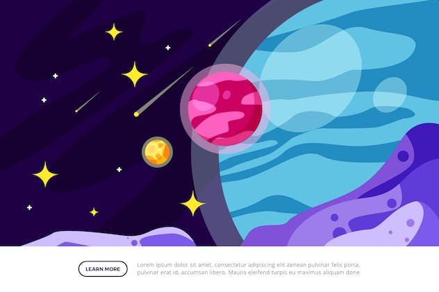 The Planet - Space Illustration Scene