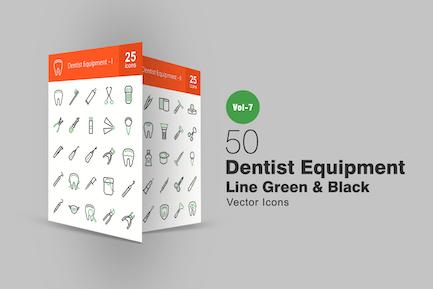 50 Dentist Equipment Green & Black Line Icons