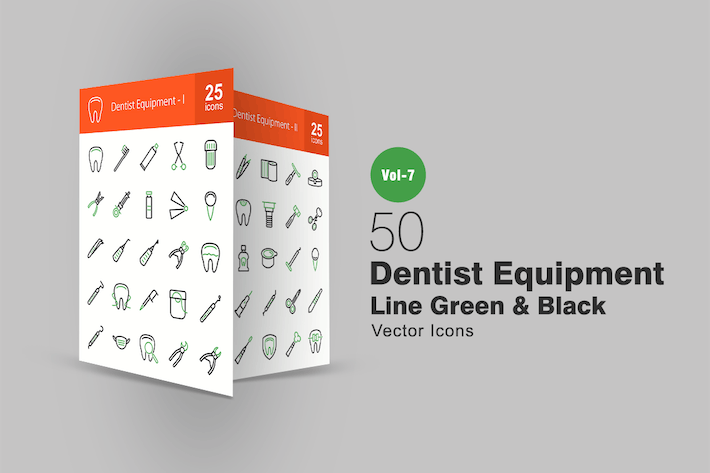 Thumbnail for 50 Dentist Equipment Green & Black Line Icons
