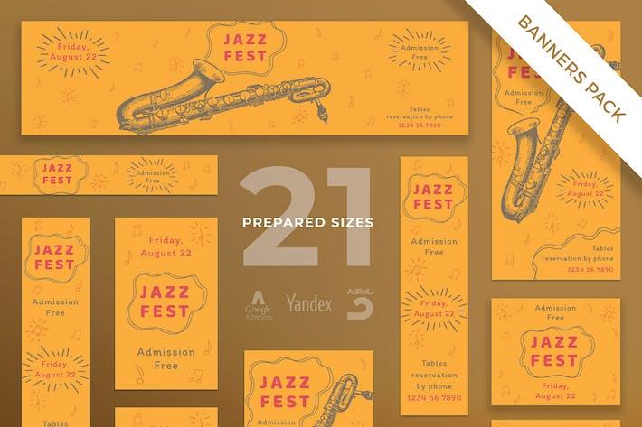 Thumbnail for Jazz Festival Banner Pack Template