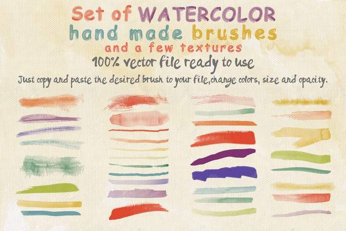 Thumbnail for Set of Watercolor Brushes and Textures