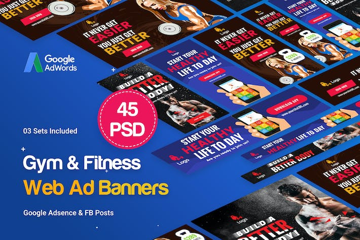 Cover Image For Gym & Fitness Banners Ad - 45 PSD [03 Sets]