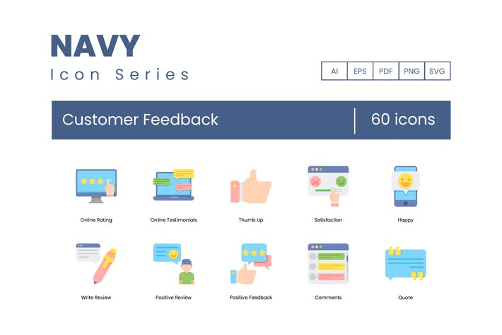Thumbnail for 60 Customer Feedback Icons | Navy Series