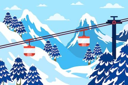 Cable Car - Landscape Illustration