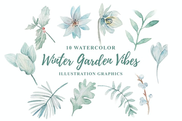 Thumbnail for 10 Watercolor Winter Garden Vibes Illustration