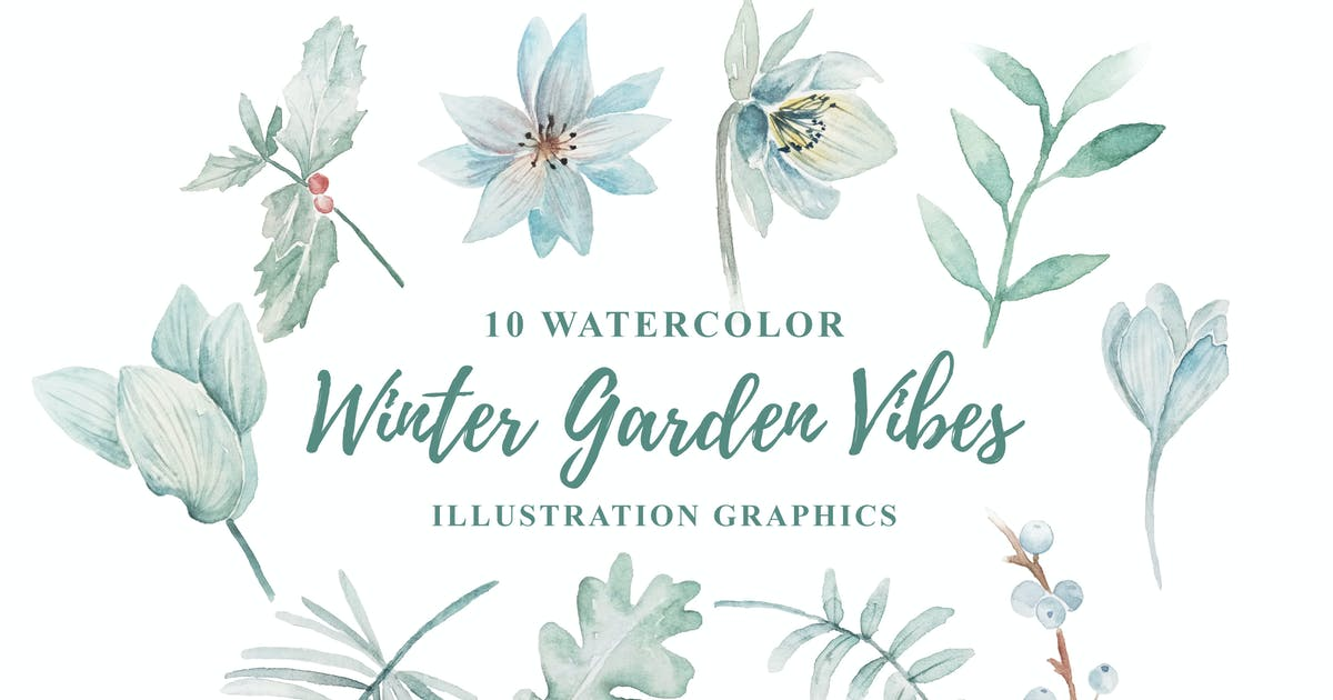 Download 10 Watercolor Winter Garden Vibes Illustration by IanMikraz