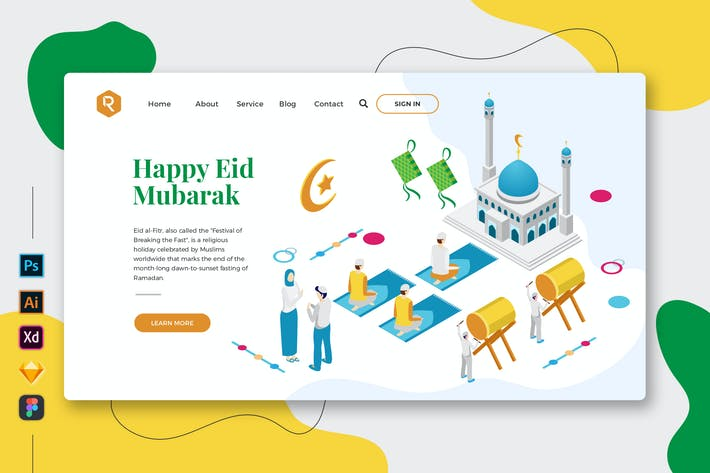 Thumbnail for Eid Mubarak - Web & Mobile Landing Page