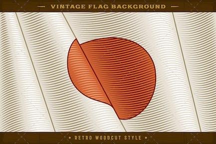 Vintage Flag Of Japan. Close-up Background