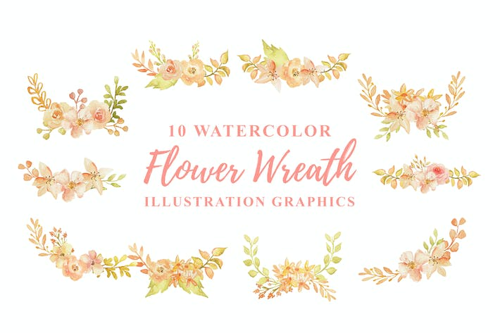Thumbnail for 10 Watercolor Flowers Wreath Illustration Graphics