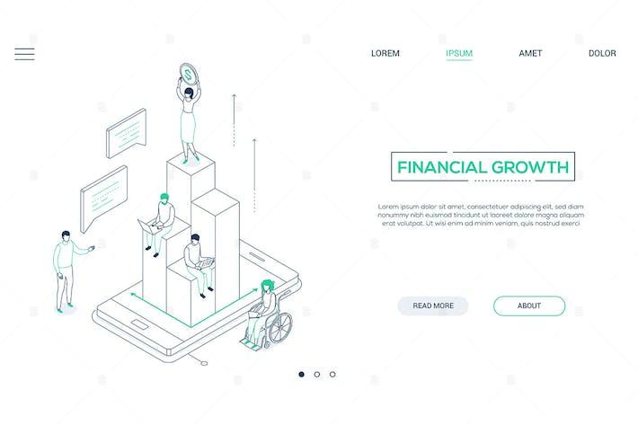 Thumbnail for Finanzwachstum - Linienstil isometrisches WebBanner