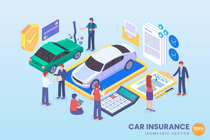Thumbnail for Isometric Car Insurance Vector Concept