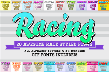 Awesome 20 Racing Fonts with Color OTF Fonts