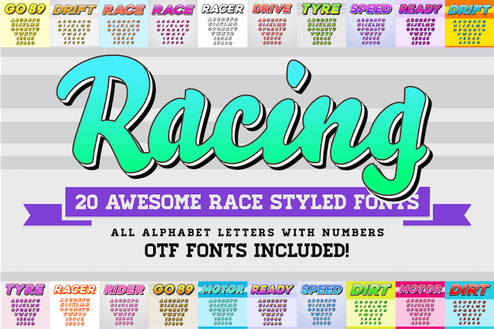 Thumbnail for Awesome 20 Racing Fonts with Color OTF Fonts