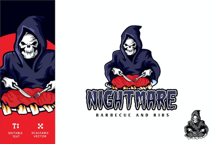 Thumbnail for Nightmare Barbecue and Ribs Food Logo Illustration