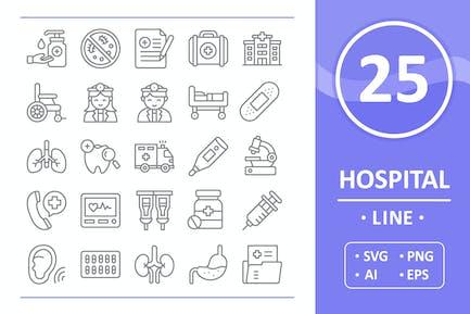 25 Hospital Icons - Line