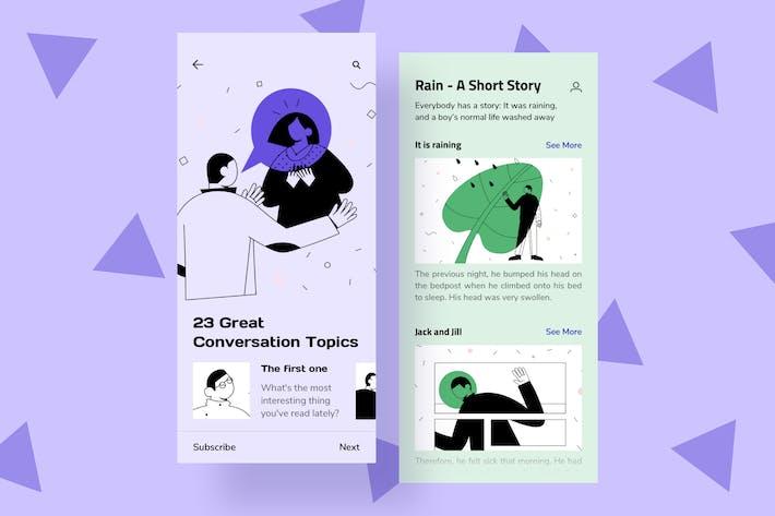 Thumbnail for Ilustraciones de la interfaz Móvil de conversación