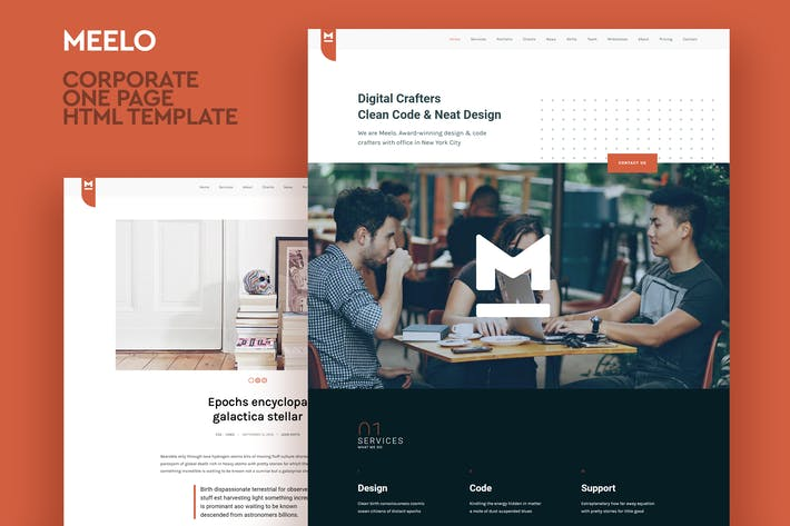 Thumbnail for Meelo - Corporate One Page HTML Template