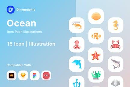 Paquete de iconos de océano