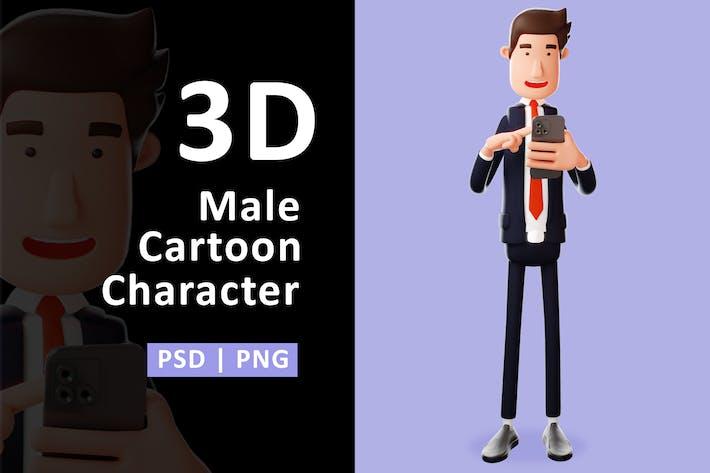 Geschäftsmann - 3D-Geschäftsmann-Charakter mit Telefon