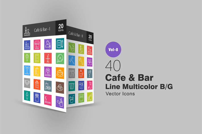 Thumbnail for 40 Cafe & Bar Line Multicolor B/G Icons
