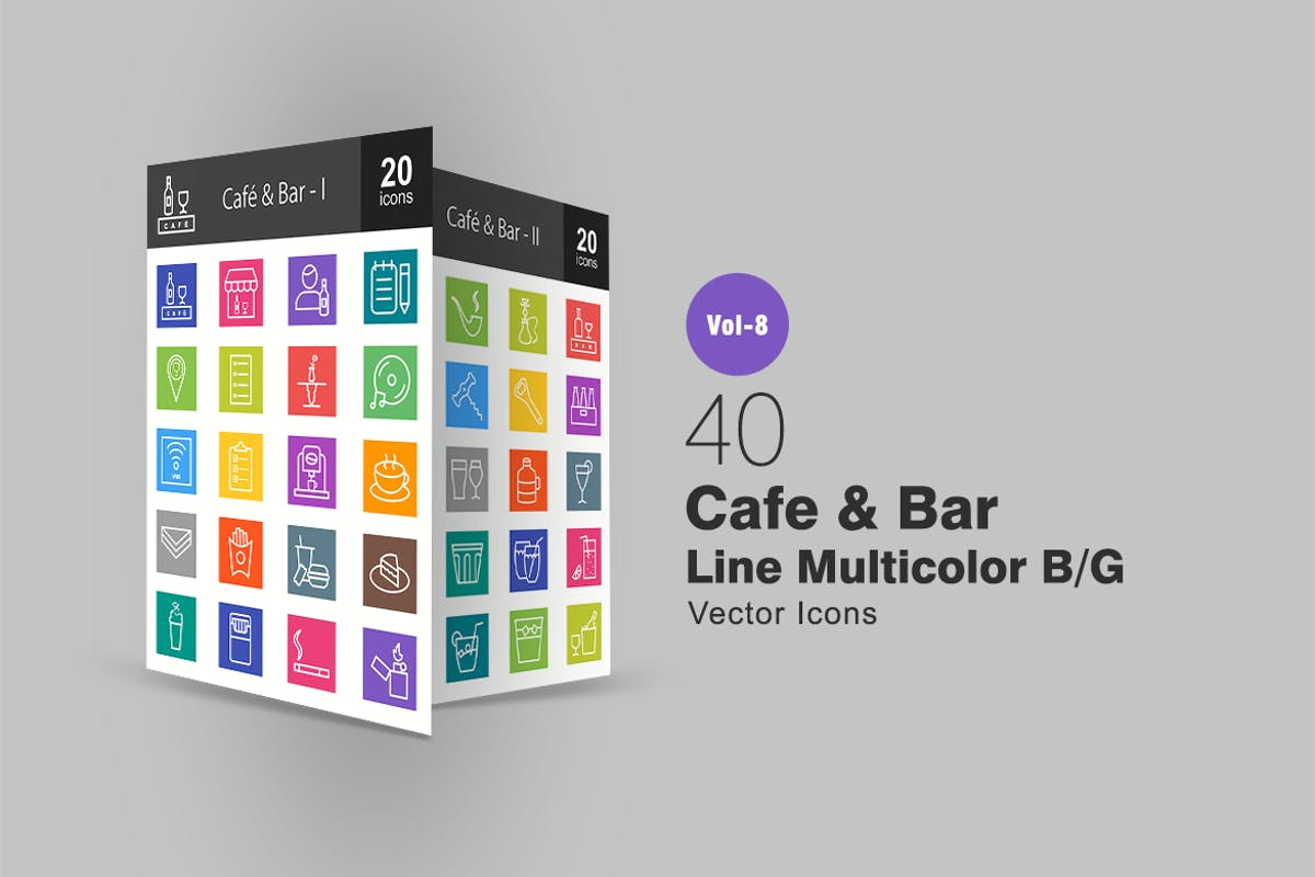 Download 40 Cafe & Bar Line Multicolor B/G Icons by IconBunny by Unknow
