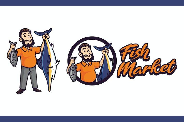 Thumbnail for Logo de mascotte de personnage de vendeur de poisson rétro