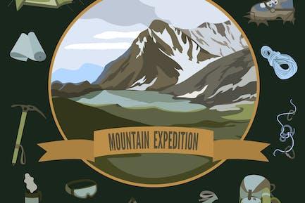 Set of mountaineering icons