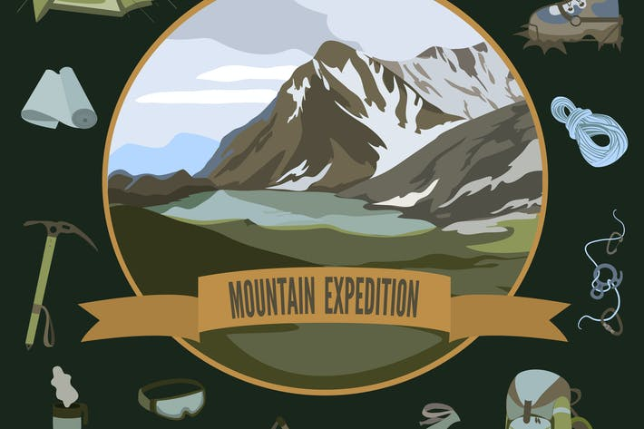 Thumbnail for Set of mountaineering icons