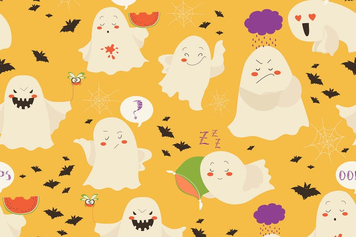 Thumbnail for Seamless pattern funny cartoon ghosts emoticon