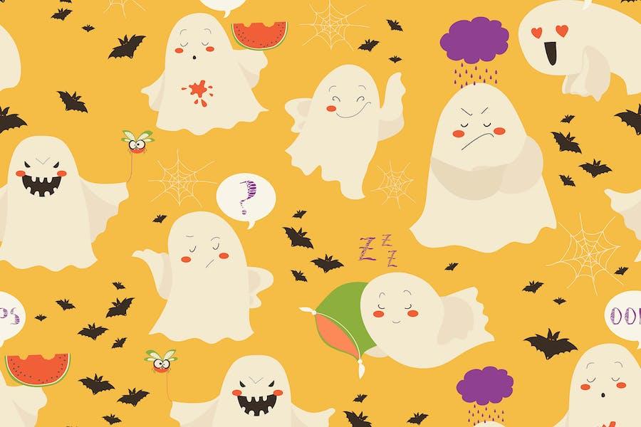 Бесшовный шаблон смешной мультфильм призраки смайлик