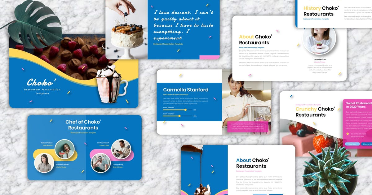 Download Choko' - Restaurant Keynote Templates by Yumnacreative