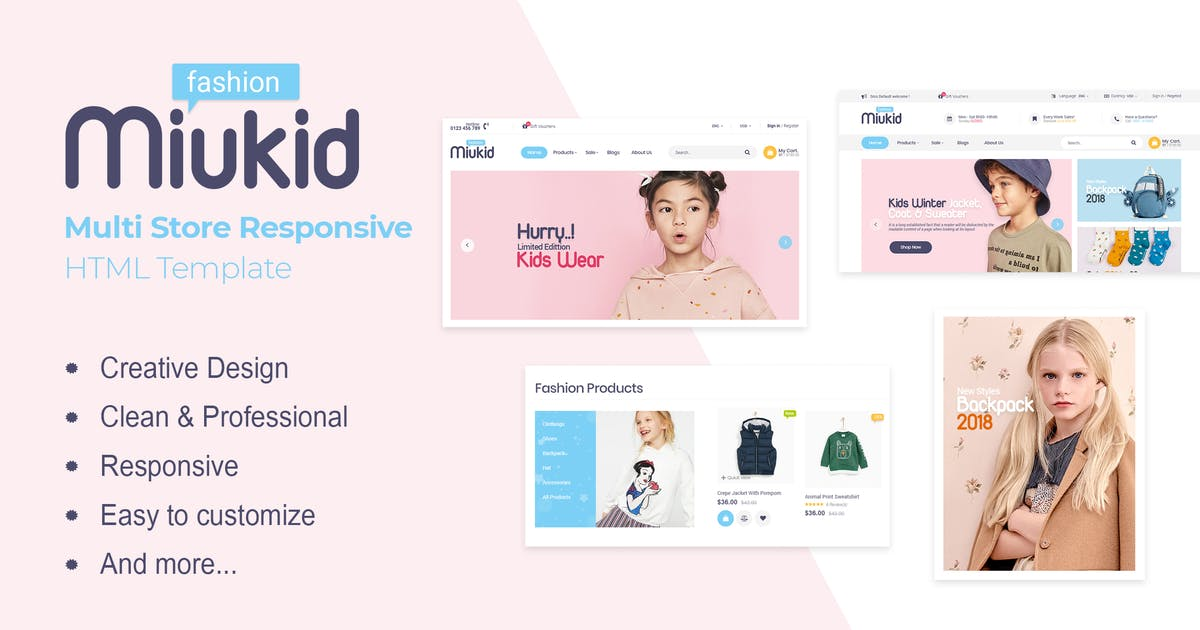 Download MiuKid   Multi Store Responsive HTML Template by EngoTheme