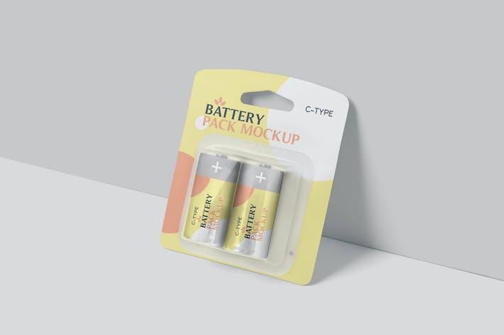 C Type Battery Packaging Mockups