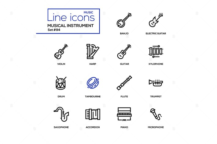 Thumbnail for Musical instruments - modern line design icons set