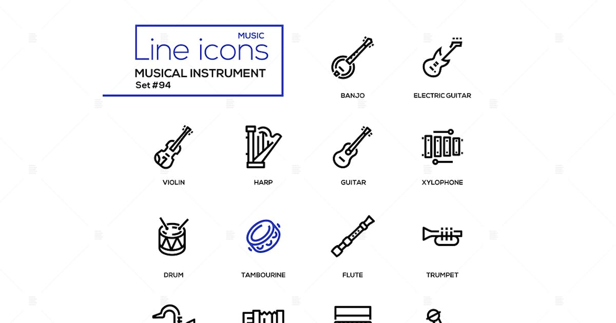 Download Musical instruments - modern line design icons set by BoykoPictures