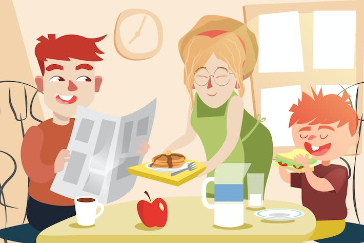 Thumbnail for Breakfast with Family - Vector illustration