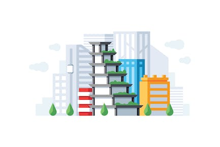 Downtown office buildings illustration
