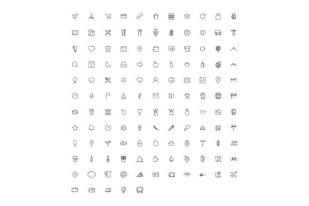 vector line art icon set