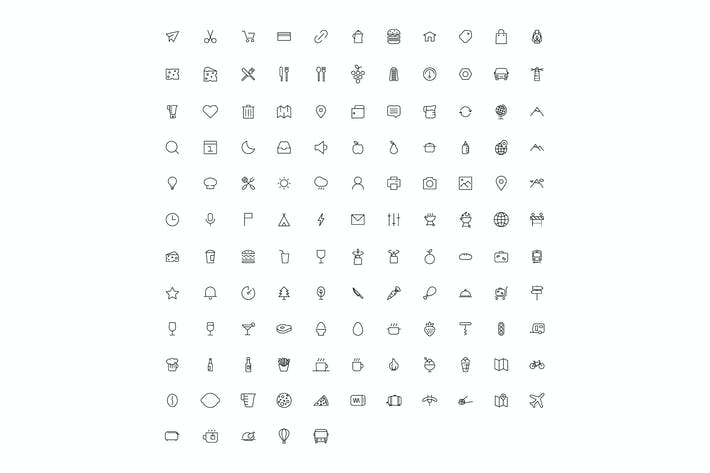 Thumbnail for vector line art icon set