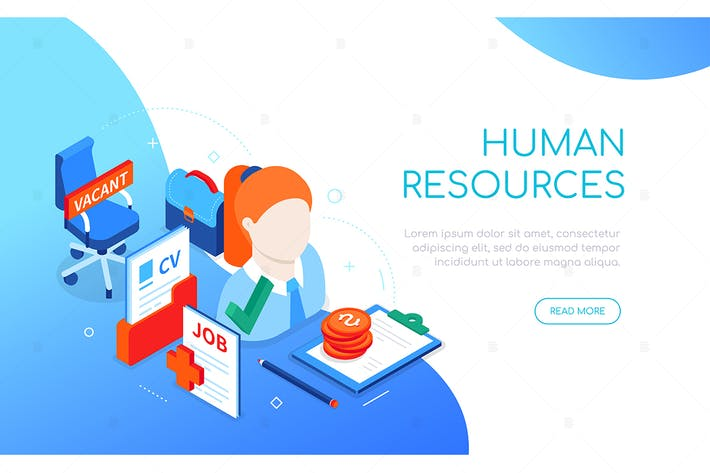 Human resources - colorful isometric web banner