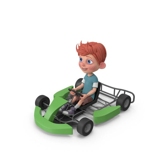 Thumbnail for Cartoon Boy Charlie Driving Go-Cart