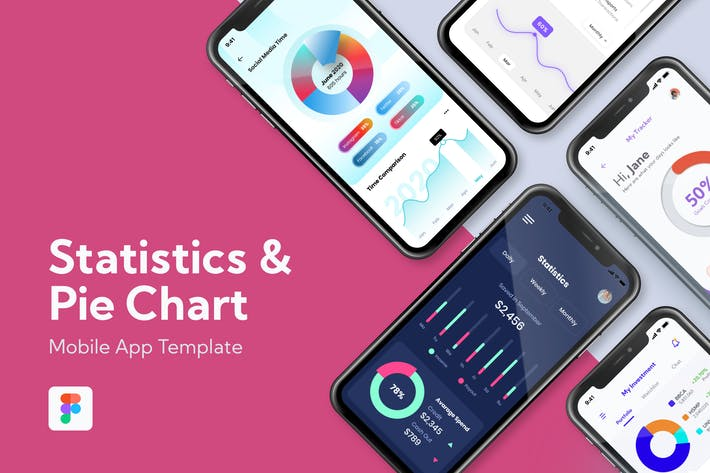 Statistics and Pie Chart - Mobile App Template